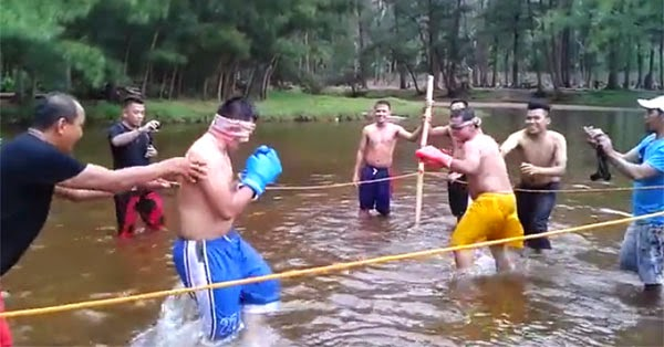 blindfold-boxing water